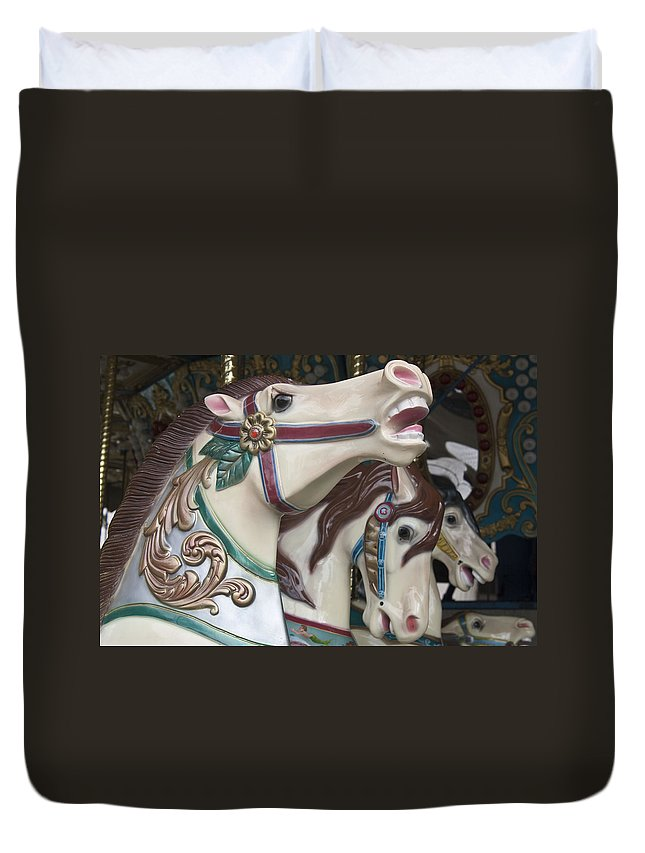Carousel Duvet Cover featuring the photograph Carousel Horse by Donna Walsh