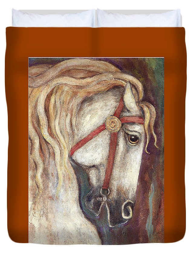 Horse Painting Duvet Cover featuring the painting Carousel Horse Painting by Frances Gillotti