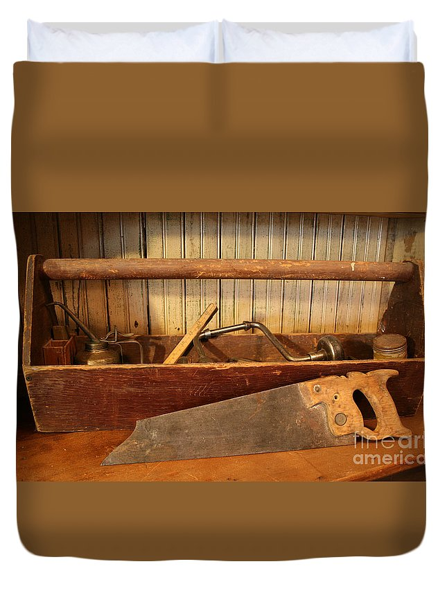 Tool Duvet Cover featuring the photograph Carpenter's Toolbox - Not Free Do Not Copy by Marna Edwards Flavell