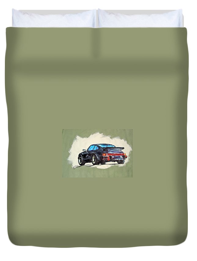 Auto Duvet Cover featuring the painting Carrera by Paul Miller