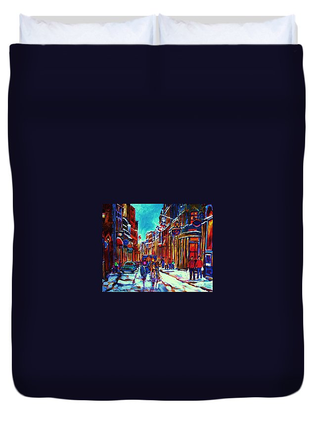 Old Montreal Duvet Cover featuring the painting Carriage Ride Through The Old City by Carole Spandau