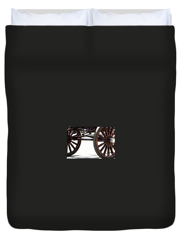 Carriage Duvet Cover featuring the photograph Carriage Wheels by Linda Shafer