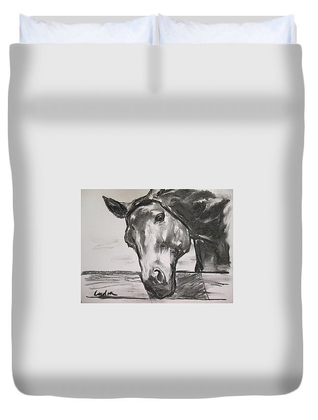 Horse Duvet Cover featuring the drawing Carrot? by Indra Singh