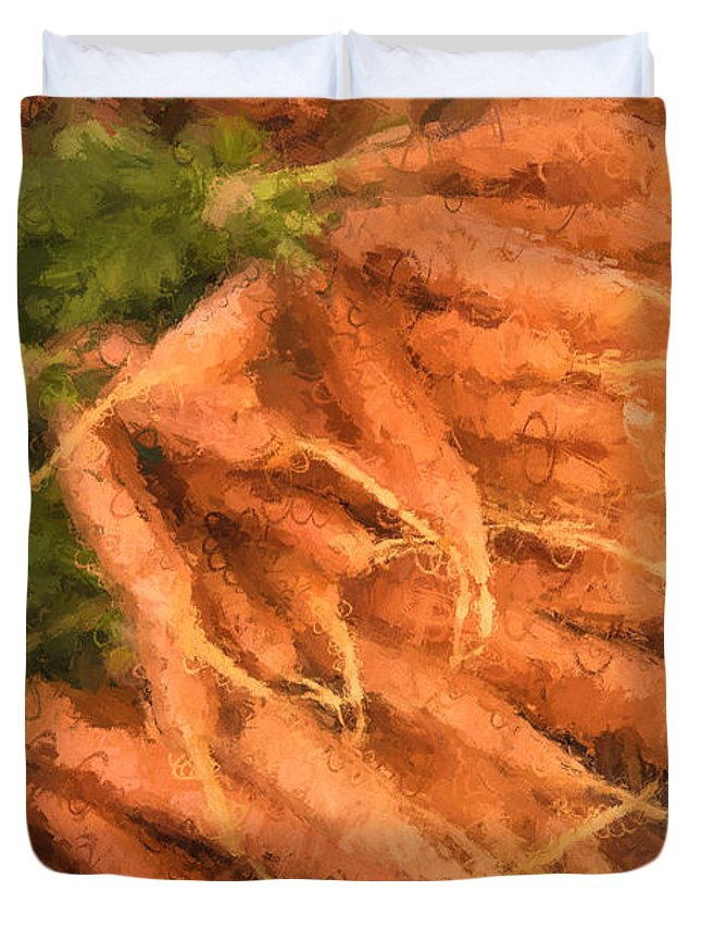 Carrots Duvet Cover featuring the mixed media Carrots by Gary Guthrie