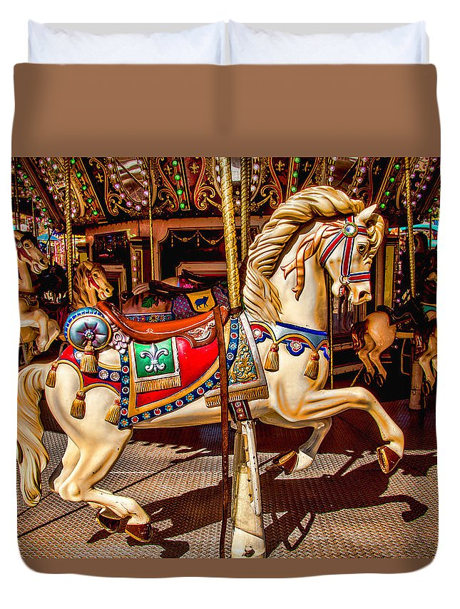 Magical Carousels Duvet Cover featuring the photograph Carrousel Horse Ride by Garry Gay