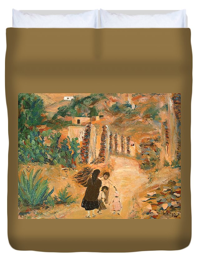 Mexico Duvet Cover featuring the painting Carrying Wood II by Lowell Smith