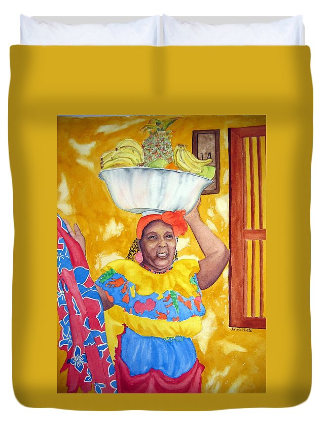 Cartagena Duvet Cover featuring the painting Cartagena Peddler II by Julia RIETZ