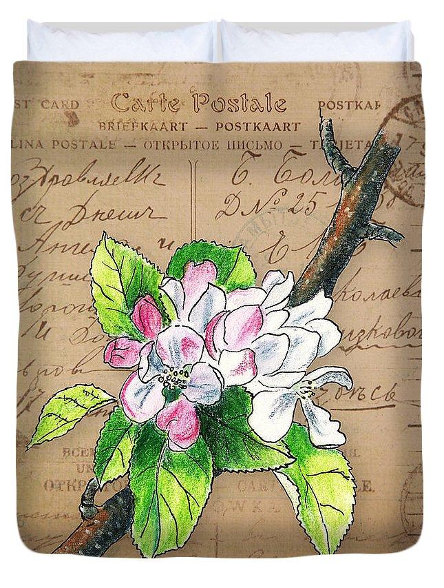 Blossom Duvet Cover featuring the mixed media Carte Postale. Blossoming Apple by Masha Batkova