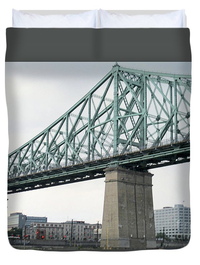 Jacques Cartier Bridge Duvet Cover featuring the photograph Cartier Bridge Day by Randall Weidner