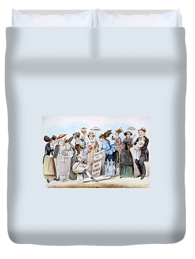 1869 Duvet Cover featuring the photograph Cartoon: Womens Rights by Granger