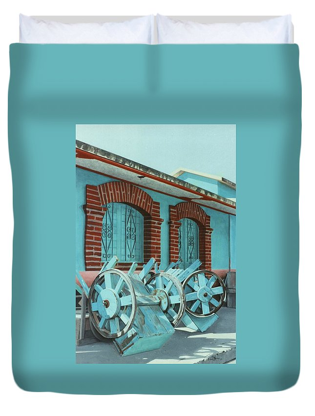 Hyperrealism Duvet Cover featuring the painting Carts And Door by Michael Earney