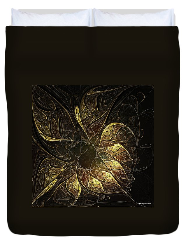 Digital Art Duvet Cover featuring the digital art Carved In Gold by Amanda Moore