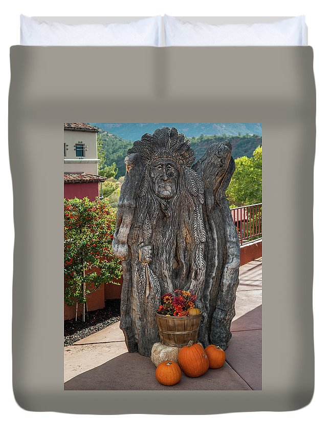 Arizona Duvet Cover featuring the photograph Carving And Pumpkins by Steve Wile