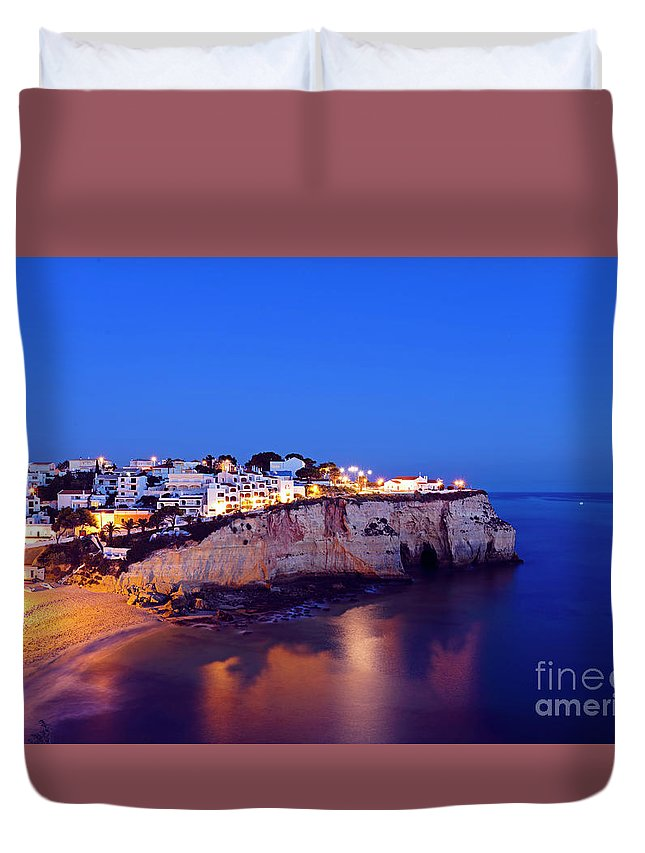 Algarve Duvet Cover featuring the photograph Carvoeiro In The Algarve Portugal At Night by Nisangha Ji