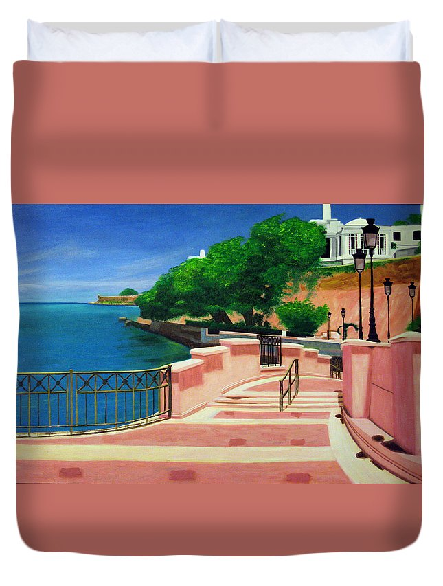 Landscape Duvet Cover featuring the painting Casa Blanca - Puerto Rico by Tito Santiago