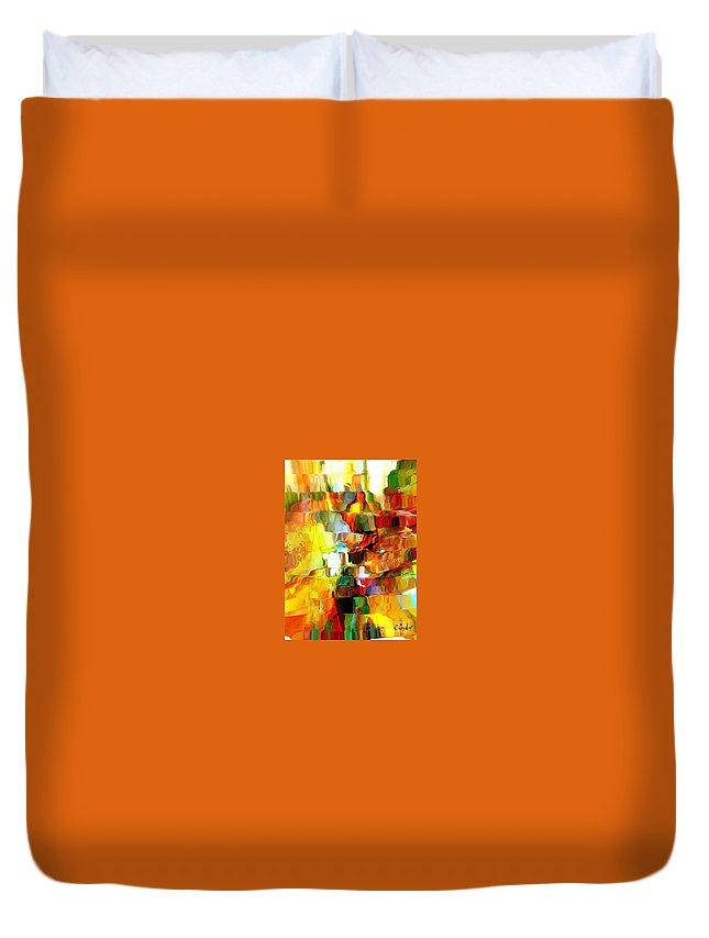 Rouge Duvet Cover featuring the digital art Cascade De Couleurs by Degouges Cindy
