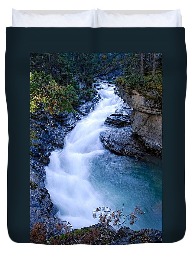 Maligne Canyon Duvet Cover featuring the photograph Cascade In The Maligne Canyon by Larry Ricker