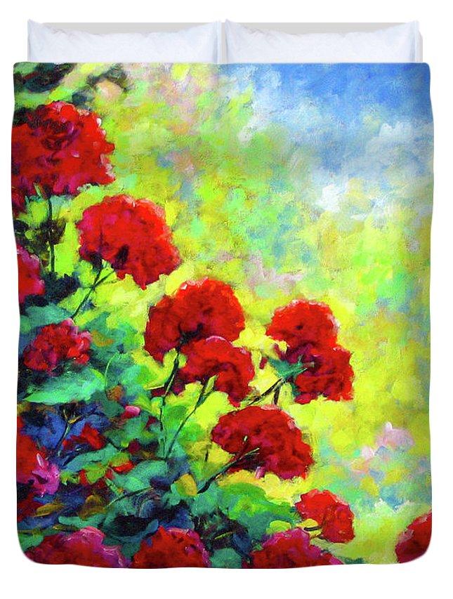 Art Original Duvet Cover featuring the painting Cascade Of Geraniums by Richard T Pranke