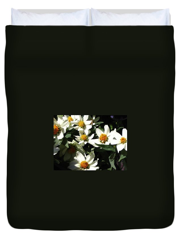 Floral Duvet Cover featuring the photograph Cascade Of White Flowers by Line Gagne