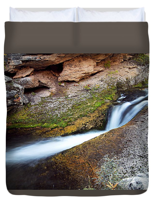 Crazy Woman Creek Duvet Cover featuring the photograph Cascade On Crazy Woman Creek by Larry Ricker