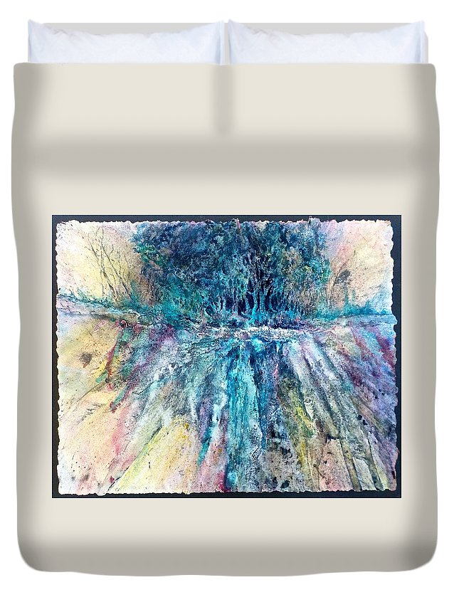 Mixed Media Duvet Cover featuring the painting Cascade Ridge by Carolyn Rosenberger