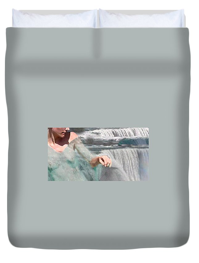 Waterscape Duvet Cover featuring the digital art Cascade by Steve Karol