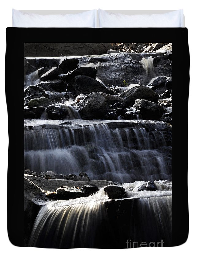 Clay Duvet Cover featuring the photograph Cascading Falls by Clayton Bruster