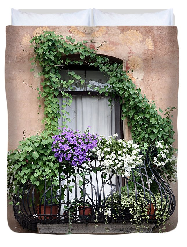 Windows And Doors Duvet Cover featuring the photograph Cascading Floral Balcony by Donna Corless