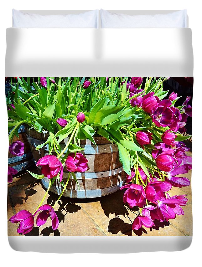 Tulips Duvet Cover featuring the photograph Cascading Purple Tulips by Cherie Cokeley