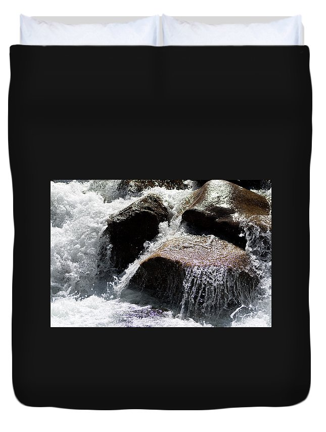 Water Duvet Cover featuring the photograph Cascading Waters by Angus Hooper Iii