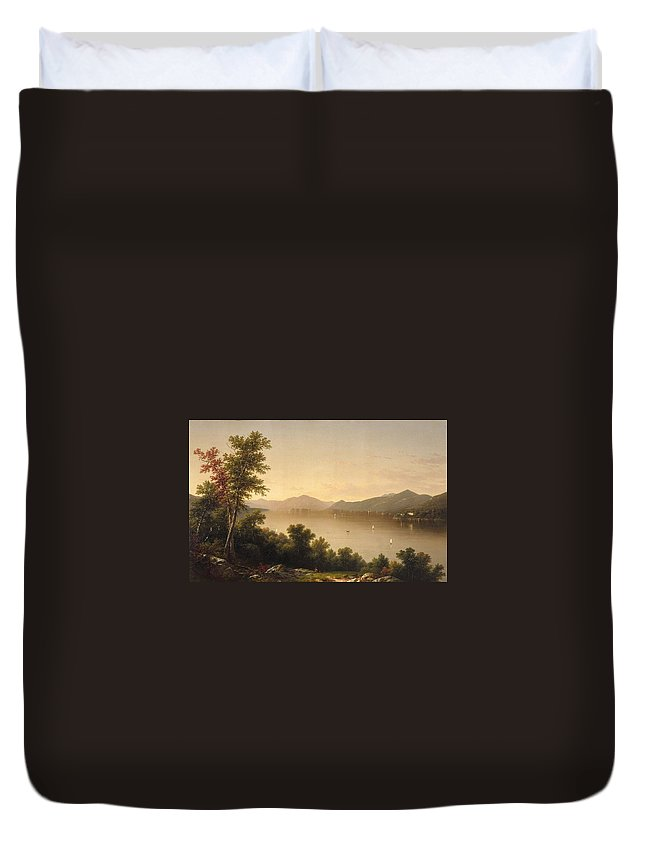 Lake George John William Casilear Duvet Cover featuring the painting Casilear by MotionAge Designs