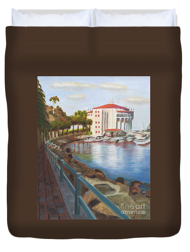 Casino Duvet Cover featuring the painting Casino In Avalon by Nicolas Nomicos