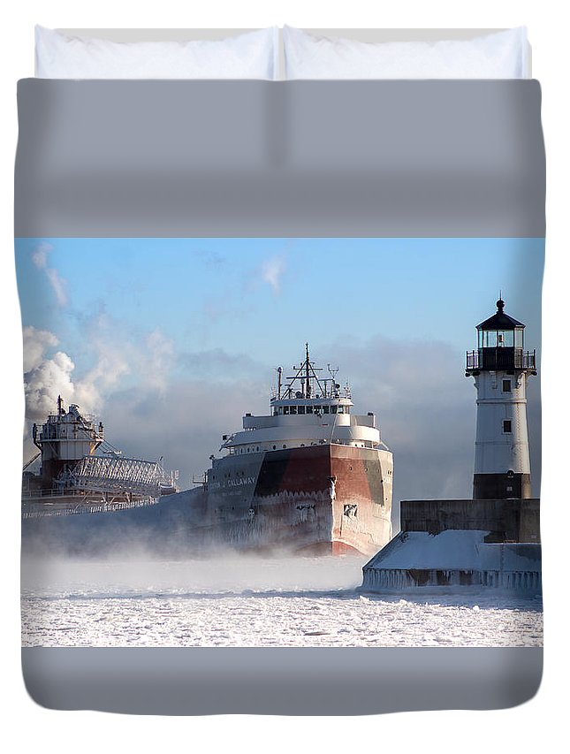 Cason Callaway Duvet Cover featuring the photograph Cason Callaway On A Frigid Morning. by Jeffrey Doty