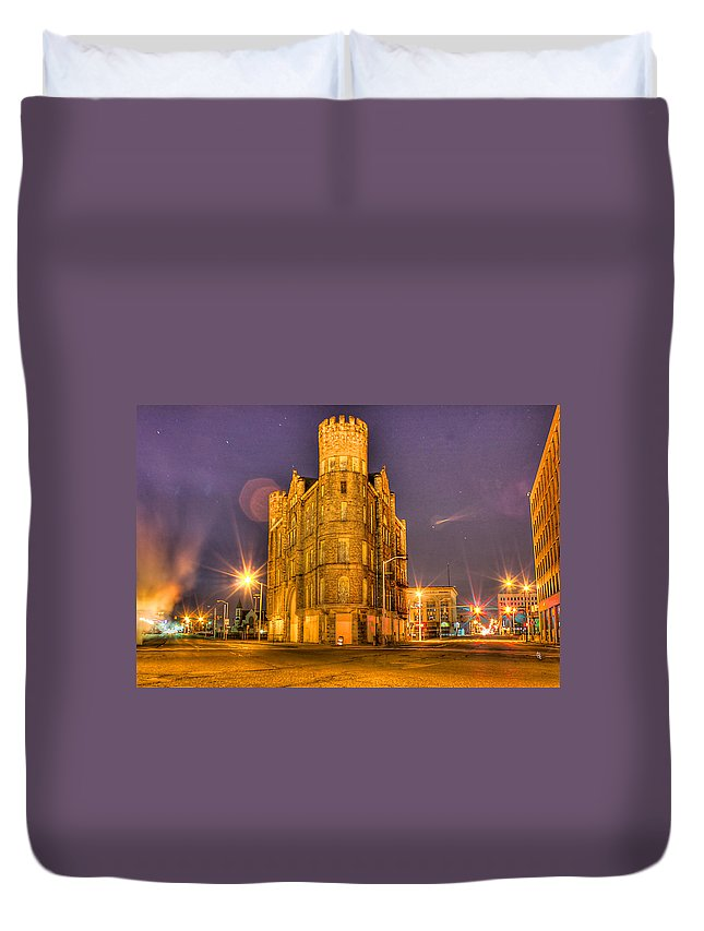 Duvet Cover featuring the photograph Cass Castle Detroit Mi by Nicholas Grunas