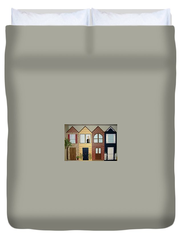 Cabinets Duvet Cover featuring the painting Cass County Library by Melissa Wiater Chaney