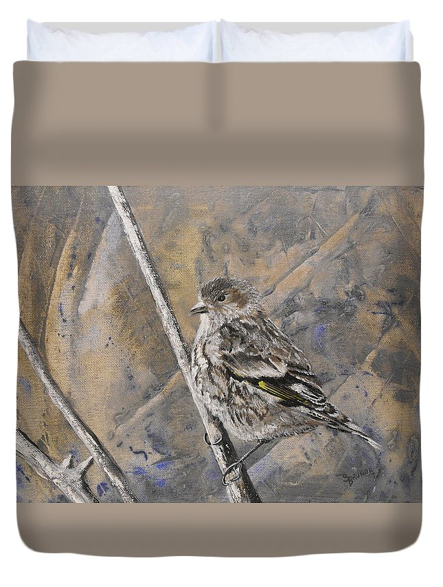 Nature Duvet Cover featuring the painting Cassin's Sparrow by Susan Bruner
