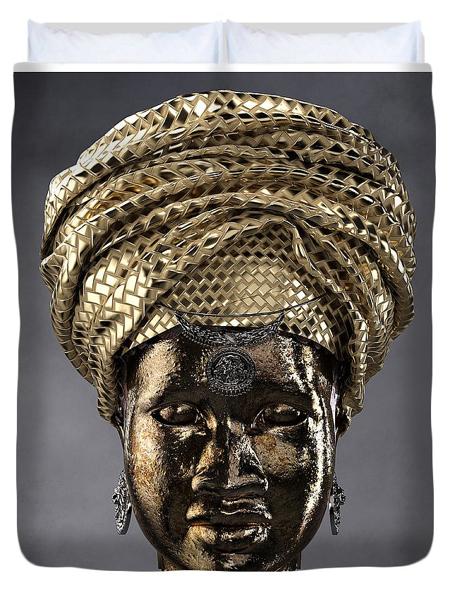 Africa Duvet Cover featuring the sculpture Cast In Character 2013 - Front by Omolara