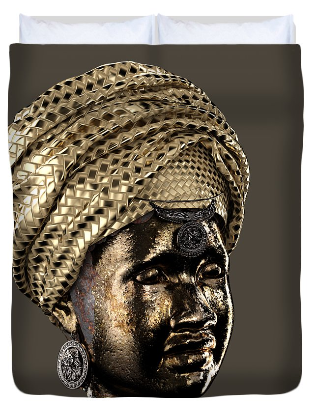 Africa Duvet Cover featuring the sculpture Cast In Character 2013 - Side View Transparent by Omolara