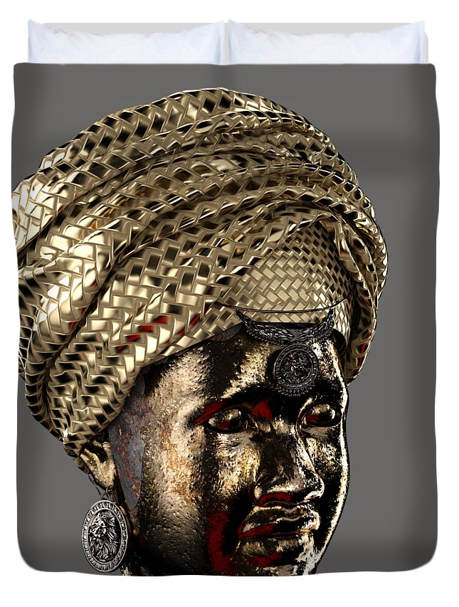 Africa Duvet Cover featuring the sculpture Cast In Character 2013 - Side View Transparent With Red Spotlight by Omolara