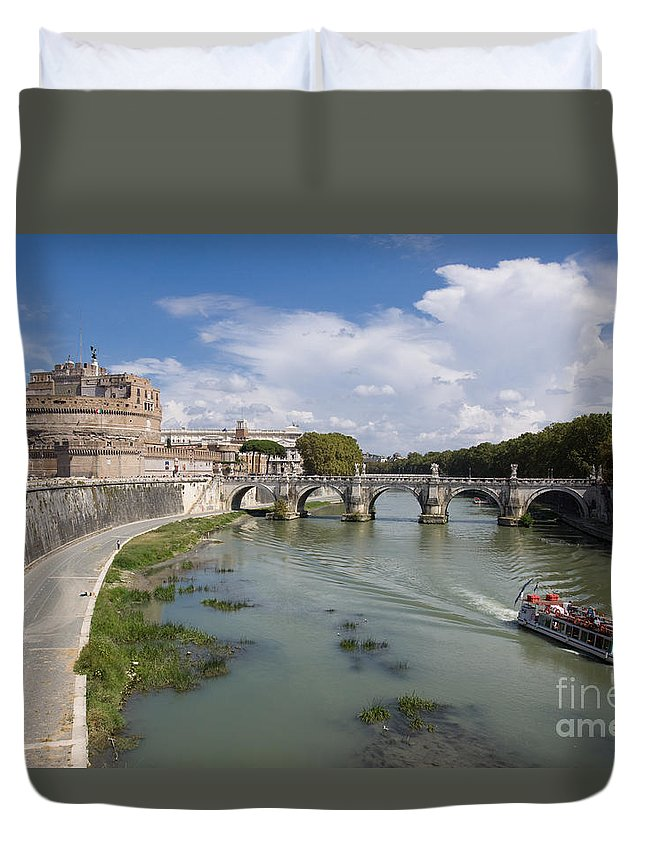 Boat Duvet Cover featuring the photograph Castel Sant' Angelo by Aquadro Photography
