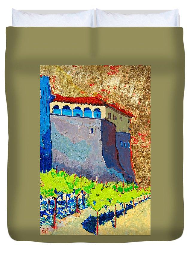 Castle Duvet Cover featuring the painting Castello Di Villafranca by Kurt Hausmann