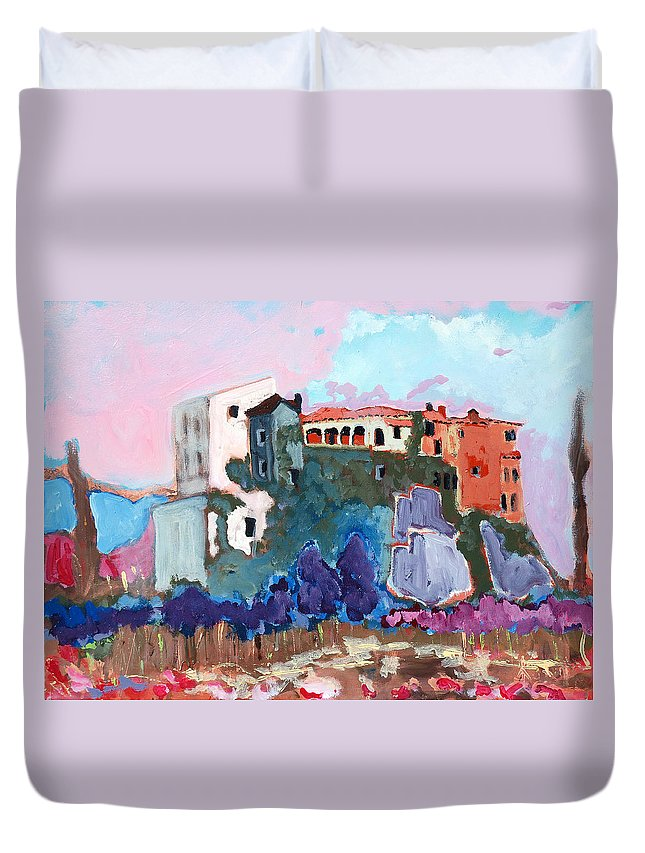 Castle Duvet Cover featuring the painting Castello by Kurt Hausmann