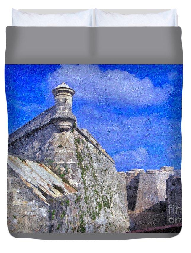 Castillo El Morro- Havana Duvet Cover featuring the photograph Castillo El Morro Havana Cuba by David Zanzinger