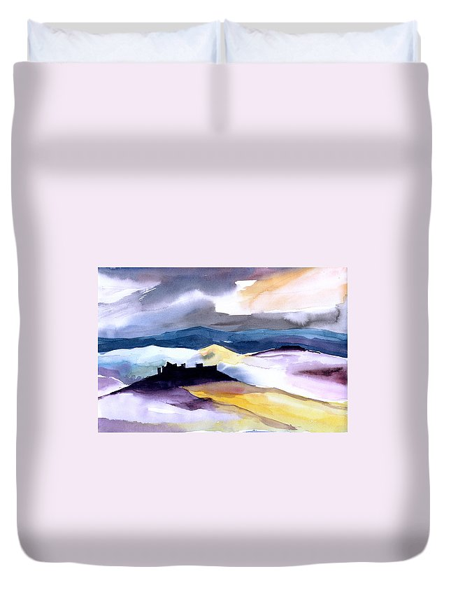 Water Duvet Cover featuring the painting Castle by Anil Nene