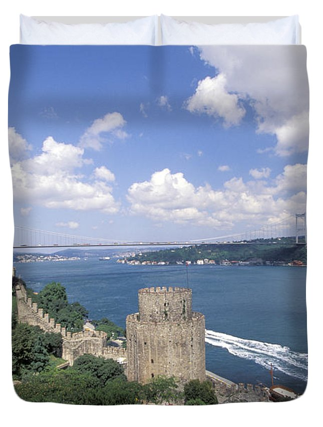Castle Duvet Cover featuring the photograph Castle At Rumelihisan Along Side by Richard Nowitz