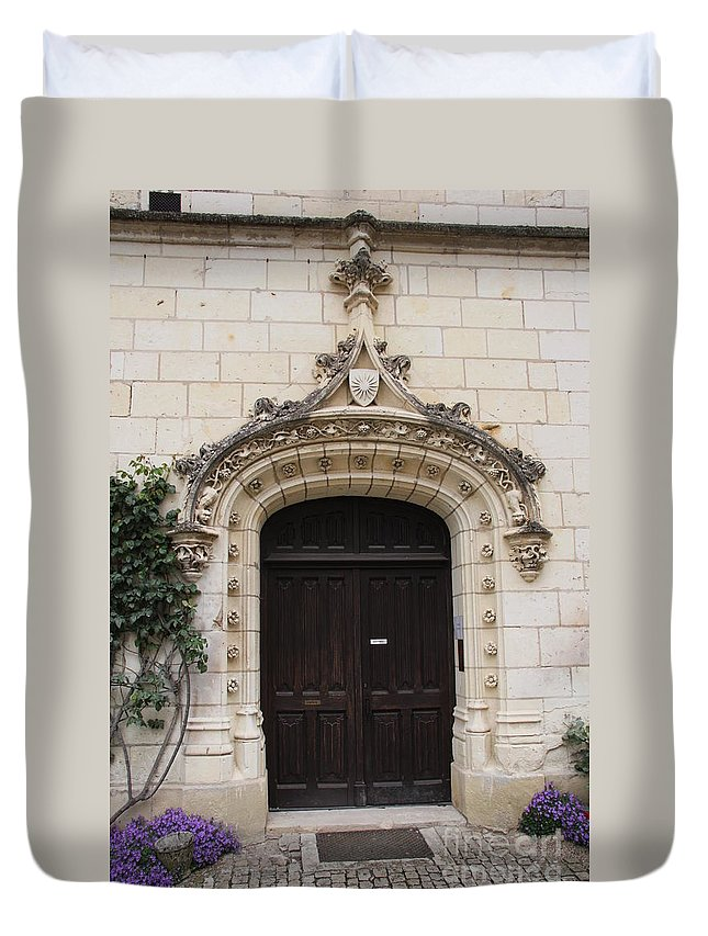 Door Duvet Cover featuring the photograph Castle Entrance Door by Christiane Schulze Art And Photography