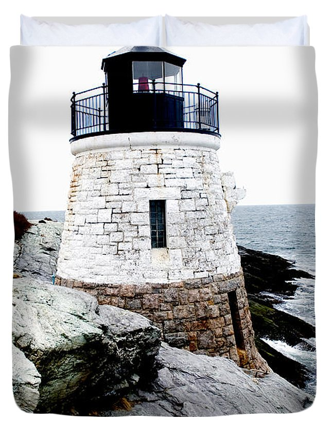 Lighthouse Duvet Cover featuring the photograph Castle Hill Light by Greg Fortier