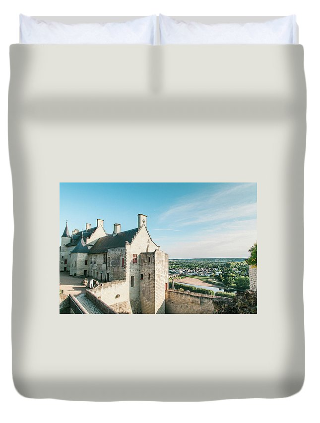 Landscape Duvet Cover featuring the photograph Castle In Chinon by Luis Ganilho