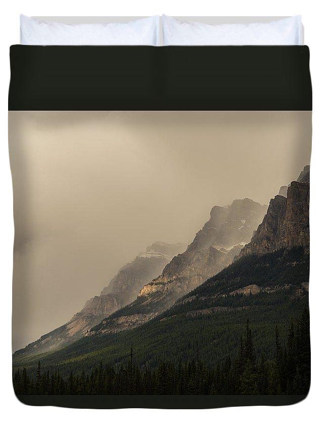 Castle Mountain Duvet Cover featuring the photograph Castle Mountain by Alex Lapidus