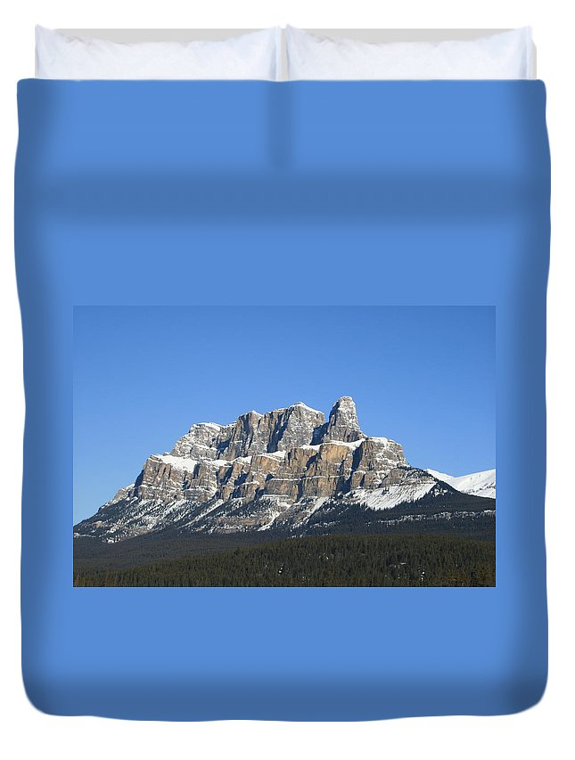 Cascade Mountain Duvet Cover featuring the photograph Castle Mountain Winter by Tiffany Vest